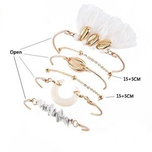 Jewelry - NEW Gold Feather & Shell Bracelet Set - 4 for $20